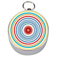 Colorful Round Kaleidoscope Silver Compass by LalyLauraFLM