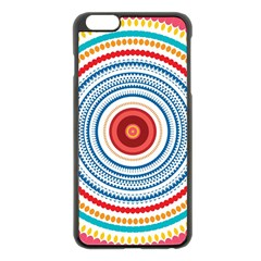 Colorful Round Kaleidoscope Apple Iphone 6 Plus Black Enamel Case by LalyLauraFLM
