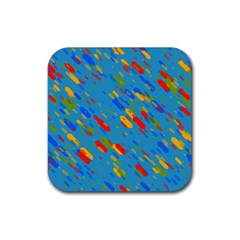 Colorful Shapes On A Blue Background Rubber Square Coaster (4 Pack) by LalyLauraFLM