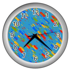 Colorful Shapes On A Blue Background Wall Clock (silver) by LalyLauraFLM