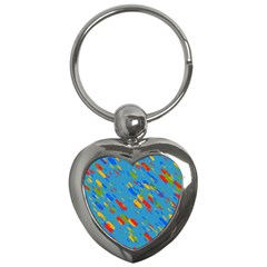Colorful Shapes On A Blue Background Key Chain (heart) by LalyLauraFLM