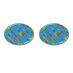 Colorful Shapes On A Blue Background Cufflinks (oval) by LalyLauraFLM