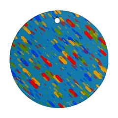 Colorful Shapes On A Blue Background Round Ornament (two Sides) by LalyLauraFLM