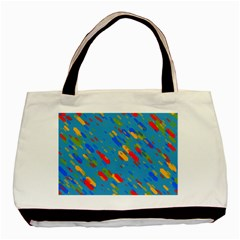 Colorful Shapes On A Blue Background Basic Tote Bag (two Sides) by LalyLauraFLM