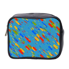 Colorful Shapes On A Blue Background Mini Toiletries Bag (two Sides) by LalyLauraFLM