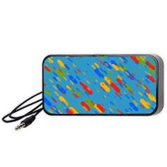 Colorful Shapes On A Blue Background Portable Speaker (black) by LalyLauraFLM