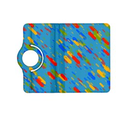 Colorful Shapes On A Blue Background Kindle Fire Hd (2013) Flip 360 Case by LalyLauraFLM