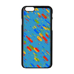 Colorful Shapes On A Blue Background Apple Iphone 6 Black Enamel Case by LalyLauraFLM