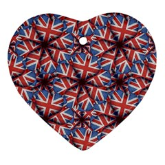 Heart Shaped England Flag Pattern Design Heart Ornament by dflcprints