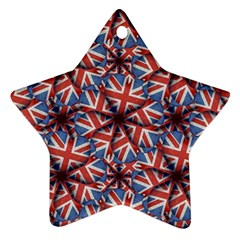 Heart Shaped England Flag Pattern Design Star Ornament by dflcprints