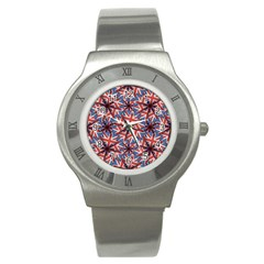 Heart Shaped England Flag Pattern Design Stainless Steel Watch (slim) by dflcprints