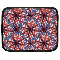 Heart Shaped England Flag Pattern Design Netbook Sleeve (xxl) by dflcprints