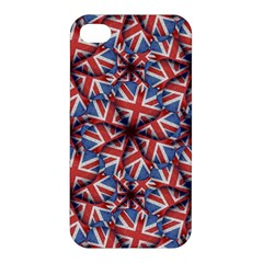 Heart Shaped England Flag Pattern Design Apple Iphone 4/4s Hardshell Case by dflcprints