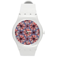 Heart Shaped England Flag Pattern Design Plastic Sport Watch (medium) by dflcprints