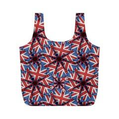 Heart Shaped England Flag Pattern Design Reusable Bag (m) by dflcprints