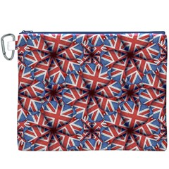 Heart Shaped England Flag Pattern Design Canvas Cosmetic Bag (XXXL)