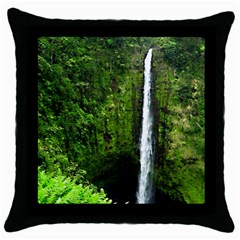 Akaka Falls Black Throw Pillow Case by bloomingvinedesign