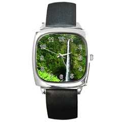 Akaka Falls Square Leather Watch by bloomingvinedesign