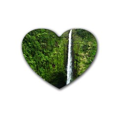 Akaka Falls Drink Coasters 4 Pack (heart)  by bloomingvinedesign