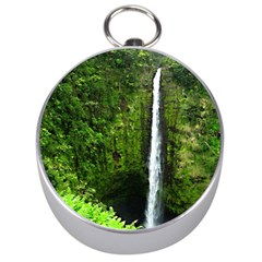 Akaka Falls Silver Compass by bloomingvinedesign