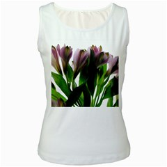 Pink Flowers on White Women s Tank Top (White) by bloomingvinedesign