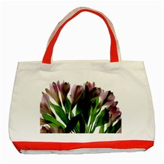 Pink Flowers On White Classic Tote Bag (red) by bloomingvinedesign