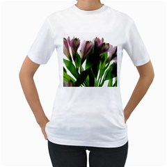 Pink Flowers On White Women s T Shirt (white)