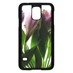 Pink Flowers On White Samsung Galaxy S5 Case (black)