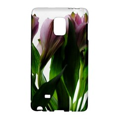 Pink Flowers on White Samsung Galaxy Note Edge Hardshell Case by bloomingvinedesign