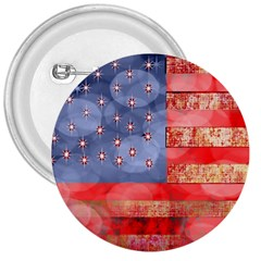 Distressed American Flag 3  Button by bloomingvinedesign