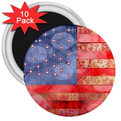 Distressed American Flag 3  Button Magnet (10 Pack) by bloomingvinedesign