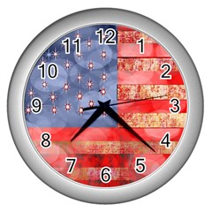 Distressed American Flag Wall Clock (silver) by bloomingvinedesign