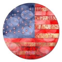 Distressed American Flag Magnet 5  (round) by bloomingvinedesign