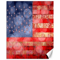 Distressed American Flag Canvas 11  X 14  (unframed) by bloomingvinedesign