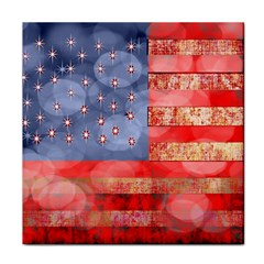 Distressed American Flag Face Towel by bloomingvinedesign