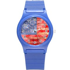 Distressed American Flag Plastic Sport Watch (small) by bloomingvinedesign