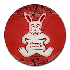 Cute Bunny Happy Easter Drawing Illustration Design 8  Mouse Pad (round) by dflcprints