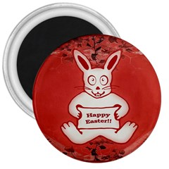 Cute Bunny Happy Easter Drawing Illustration Design 3  Button Magnet by dflcprints