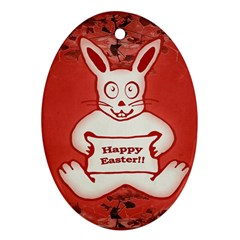 Cute Bunny Happy Easter Drawing Illustration Design Oval Ornament by dflcprints