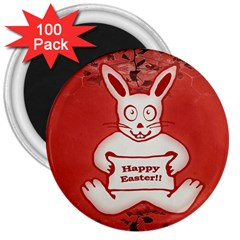 Cute Bunny Happy Easter Drawing Illustration Design 3  Button Magnet (100 Pack) by dflcprints
