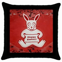 Cute Bunny Happy Easter Drawing Illustration Design Black Throw Pillow Case by dflcprints