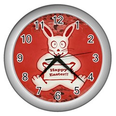 Cute Bunny Happy Easter Drawing Illustration Design Wall Clock (silver) by dflcprints