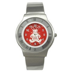 Cute Bunny Happy Easter Drawing Illustration Design Stainless Steel Watch (slim) by dflcprints
