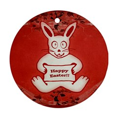 Cute Bunny Happy Easter Drawing Illustration Design Round Ornament (two Sides) by dflcprints