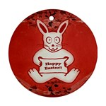 Cute Bunny Happy Easter Drawing Illustration Design Round Ornament (Two Sides) Back