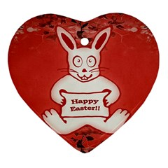 Cute Bunny Happy Easter Drawing Illustration Design Heart Ornament (two Sides) by dflcprints
