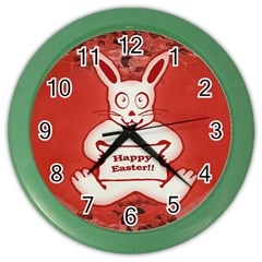 Cute Bunny Happy Easter Drawing Illustration Design Wall Clock (color) by dflcprints