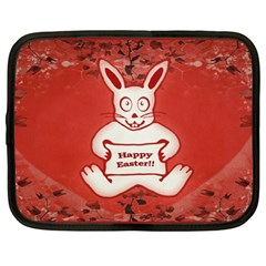 Cute Bunny Happy Easter Drawing Illustration Design Netbook Sleeve (xxl) by dflcprints