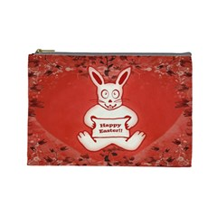 Cute Bunny Happy Easter Drawing Illustration Design Cosmetic Bag (large) by dflcprints