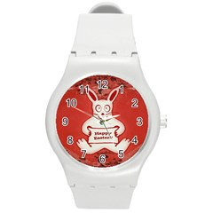 Cute Bunny Happy Easter Drawing Illustration Design Plastic Sport Watch (medium) by dflcprints